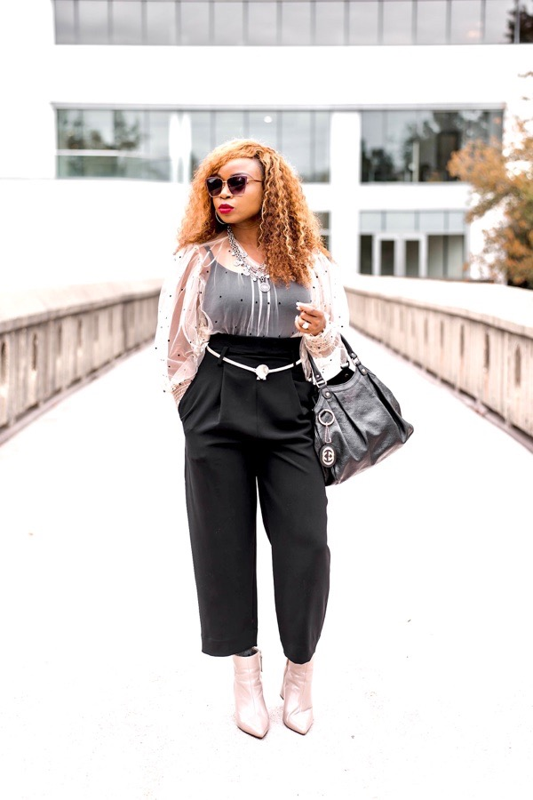 how to style a sheer long sleeve top pink polka dots zara top