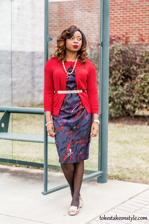 how-to-style-a-red-sweater-for-work-with-dress