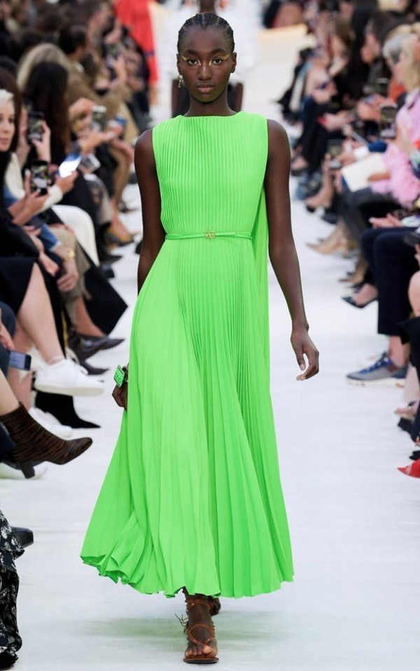 wearable-summer-2020-fashion-trends-neon-green-Valentino-pleated-dress