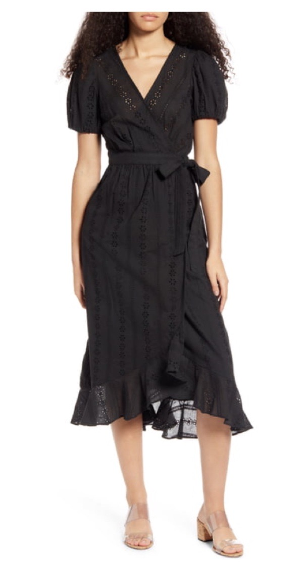 wearable-summer-2020-fashion-trends-black-puff-sleeve-wrap-dress-ontwelfth