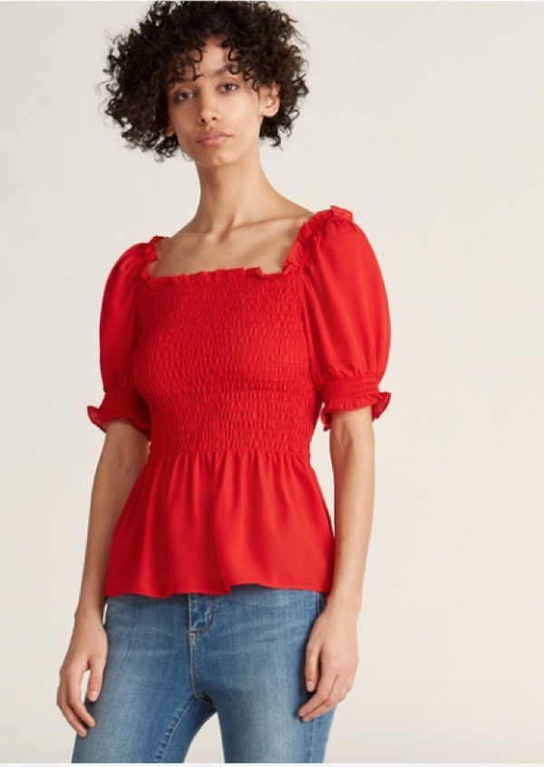 wearable-summer-2020-fashion-trends-red-puff-sleeve-top-century21