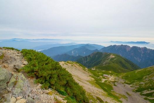 仙丈ヶ岳山頂から八ヶ岳・北アルプス