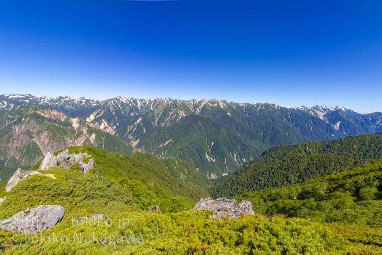 大下りノ頭から見る鷲羽岳・水晶岳・立山連峰