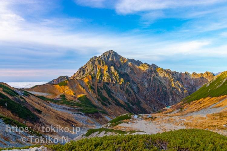 剱沢から夕日のあたる剣岳