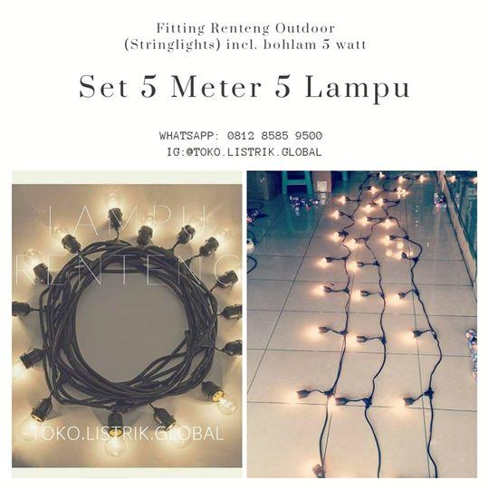 Stringlights lampu cafe outdoor 5 meter jarak antarlampu 1 meter