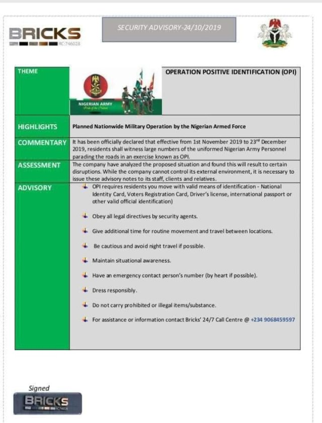 Bricks Publication on Operation Positive Identification