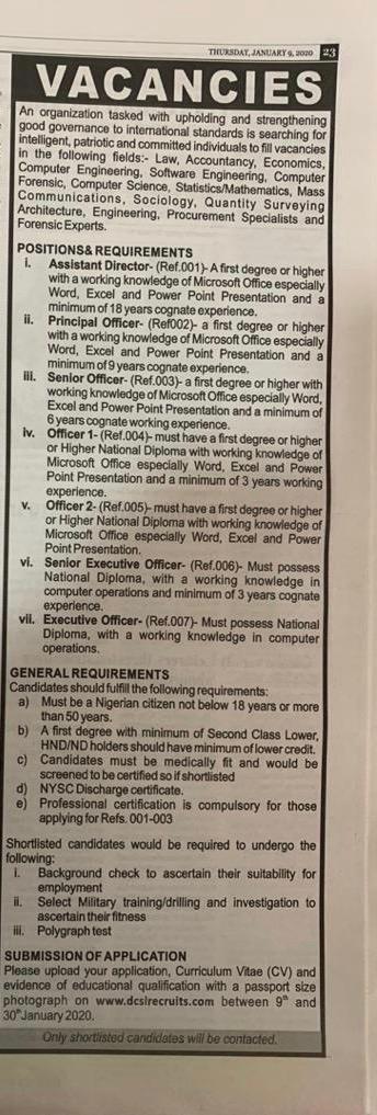 Job Vacancies 2020