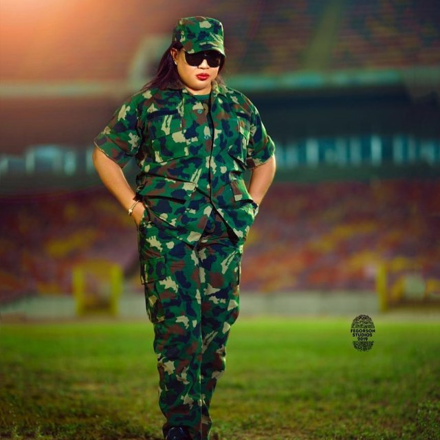 Regina Daniels Mother Hon. Rita Daniels in Military Outfit