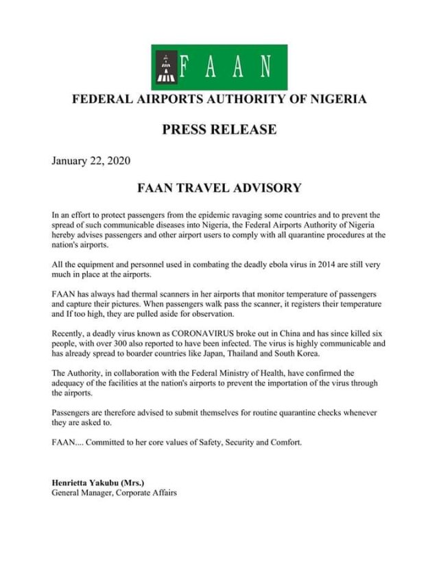Following the outbreak of  Coronavirus, the Federal Airports Authority of Nigeria FANN issues travel advisory to intending travelers who want to travel out of the Country.
