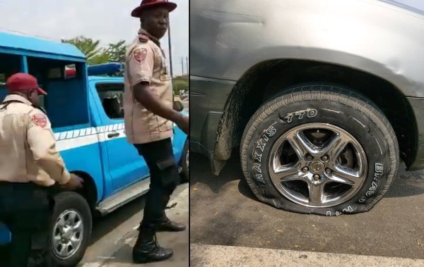 See what FRSC officials did to a car rushing a pregnant woman in labour to the hospital