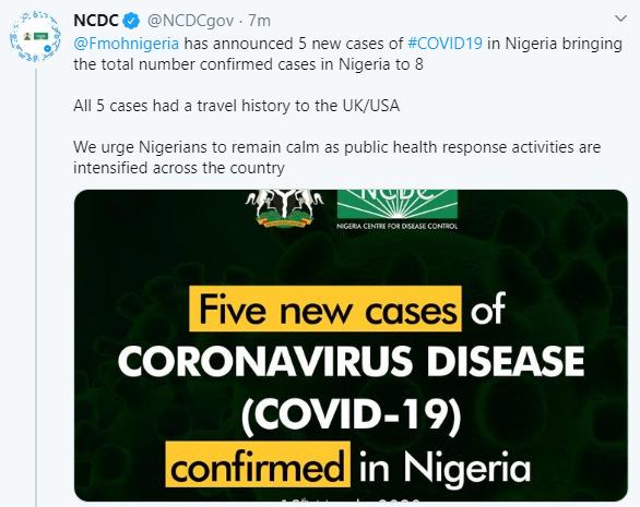 FG confirms five new cases of Coronavirus in Nigeria