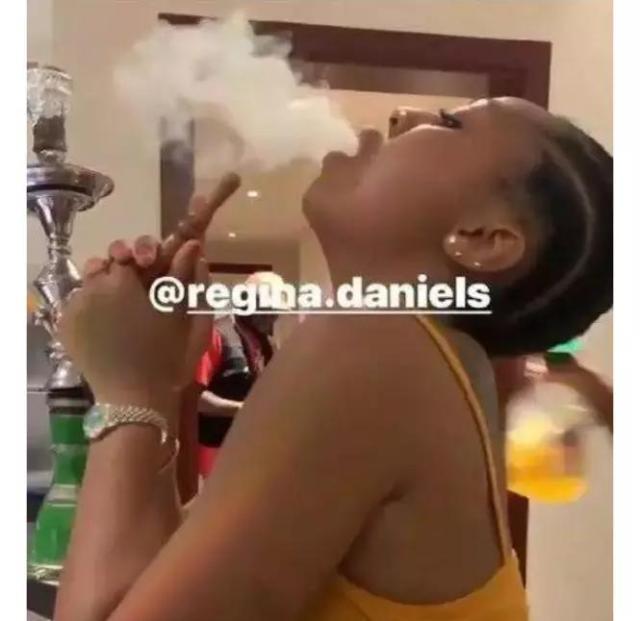 Regina Daniels Smoking Shisha