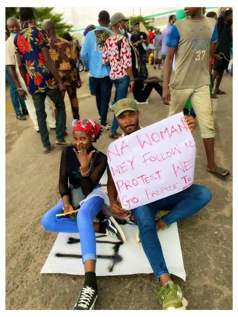 His Girlfriend During Protest