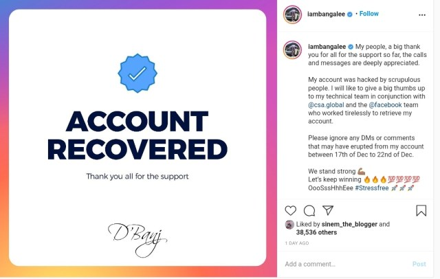 D'Banj Recovers Instagram Account