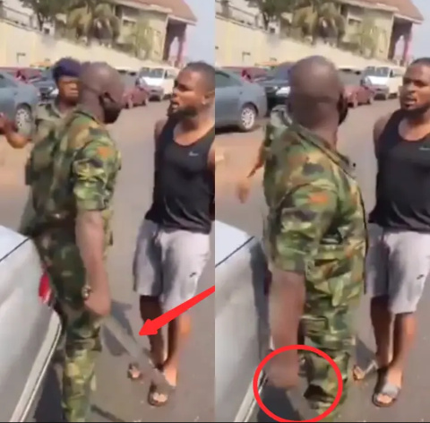 Video: Nigerians React After Soldier Slaps An International Footballer Inside His G-Wagon