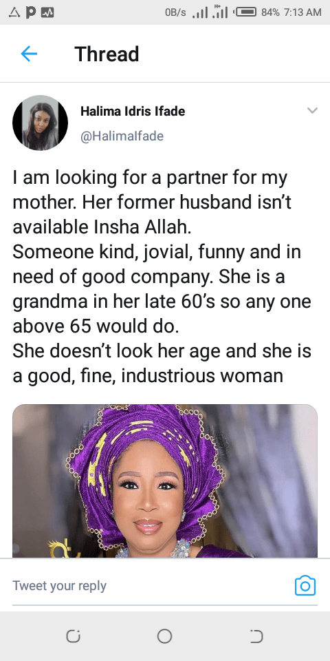 I'm Looking for A Partner For My Mother – Lady Appeals To Followers On Twitter