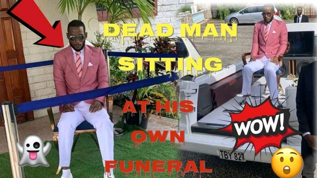 Drama Dead Man Sits On A Chair, Wears Expensive Suit To His Own Funeral
