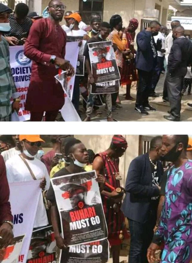 """""""Buhari Must Go"""", Protesters Storm The Streets Of Abuja Demanding For The Resignation Of President Buhari"""