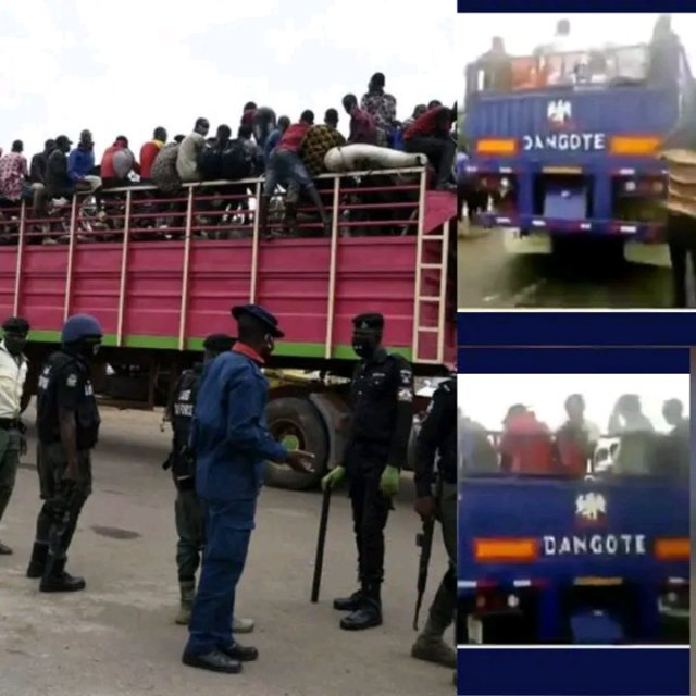 Video: Police Arrest Dangote Truck Transporting Over 150 Hausa Men, Children To South- East