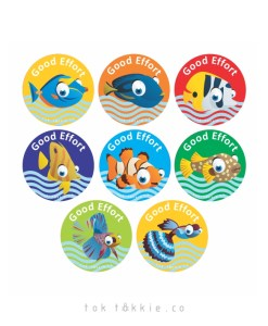 tok tokkie Teachers Reward Labels – FISH 4 – Good Effort
