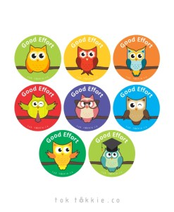 tok tokkie Teachers Reward Labels – OWLS – Good Effort