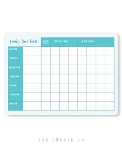 Toktokkie Magnetic Timetable A4+ Turquiose