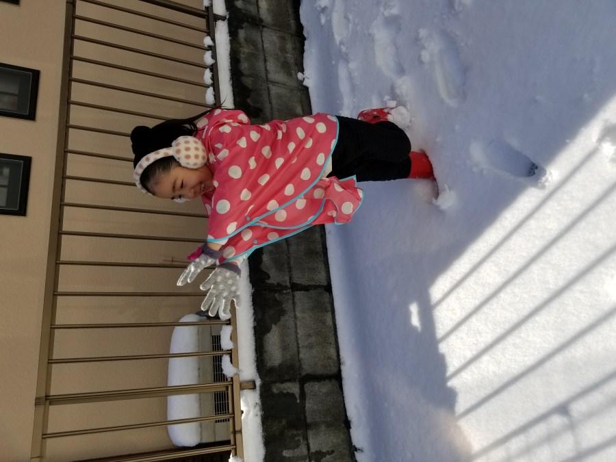 娘と初めての雪合戦 国分寺 美容室 LAND
