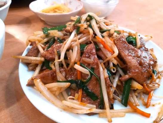 野菜たっぷりニラレバ炒め定食