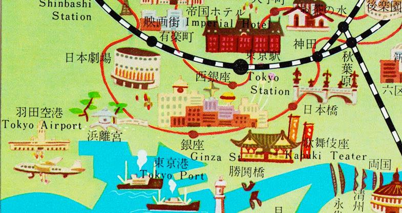 oude Tokyo toeristen plattegrond