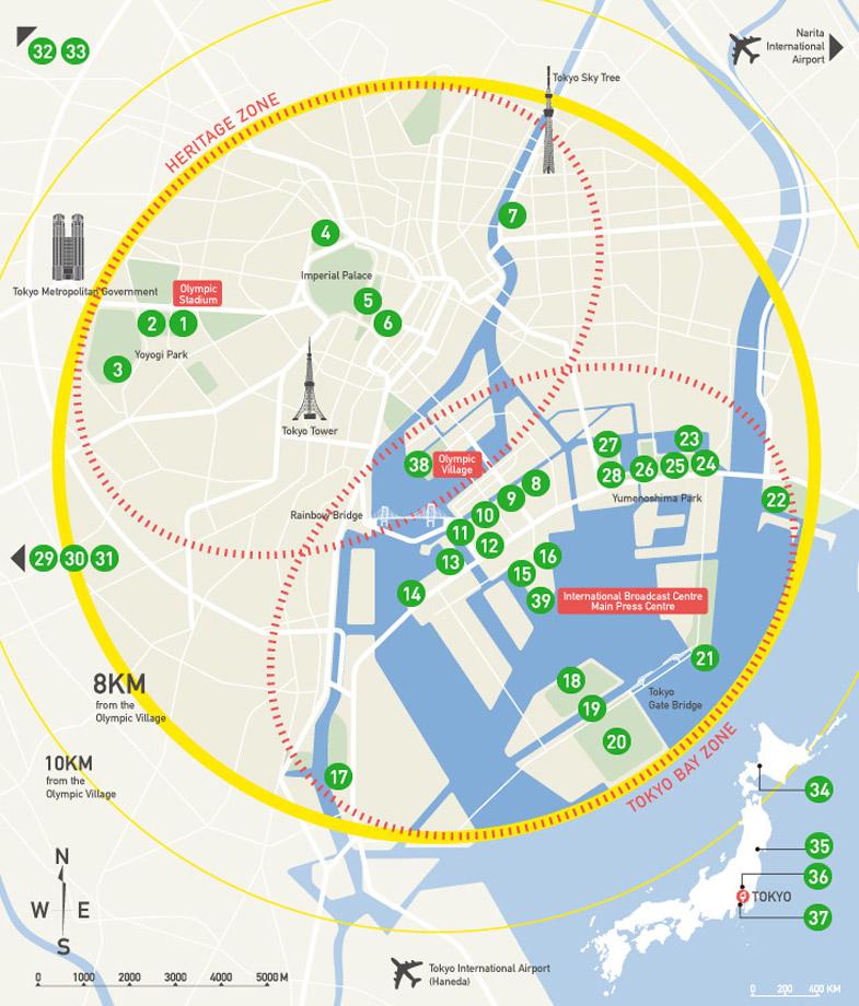 Plattegrond Olympische Spelen 2020 Tokyo
