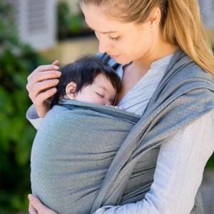 Hoppediz Baby woven Wrap Sling London white