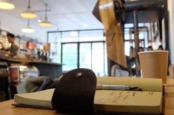 Notebook at Arise Coffee Entangle Kiyosumi Shirakawa Tokyo Japan