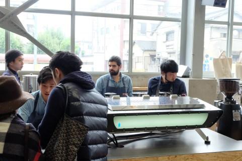 Espresso Machine and Baristas at Blue Bottle Coffee Kiyosumi-Shirakawa Tokyo Japan