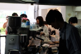 Shadowy Barista at Light Up Coffee Kichijoji Tokyo Japan Cafe