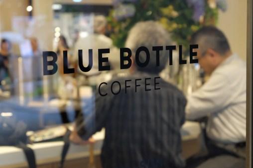 Exterior Sign at Blue Bottle Coffee Shinjuku Japan Tokyo