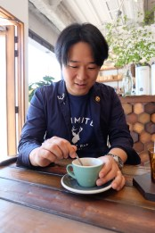 Owner Daichi Matsubara at Unlimited Coffee Bar in Narihira Tokyo Japan
