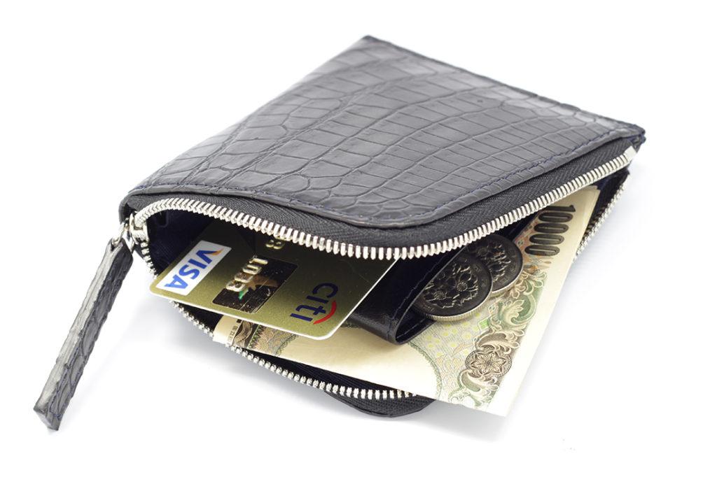 マットクロコダイルL字ラウンド折財布