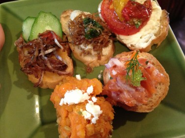 """""""Summer in Kyoto,"""" Smoked Salmon, Tomato, and Carrot crostinis"""