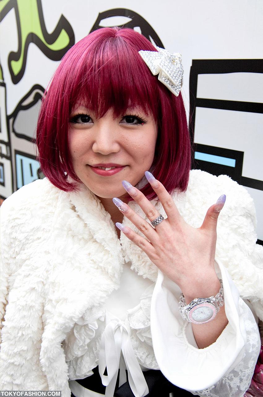 Red Hair And Purple Nails In Harajuku Anese Nail Art