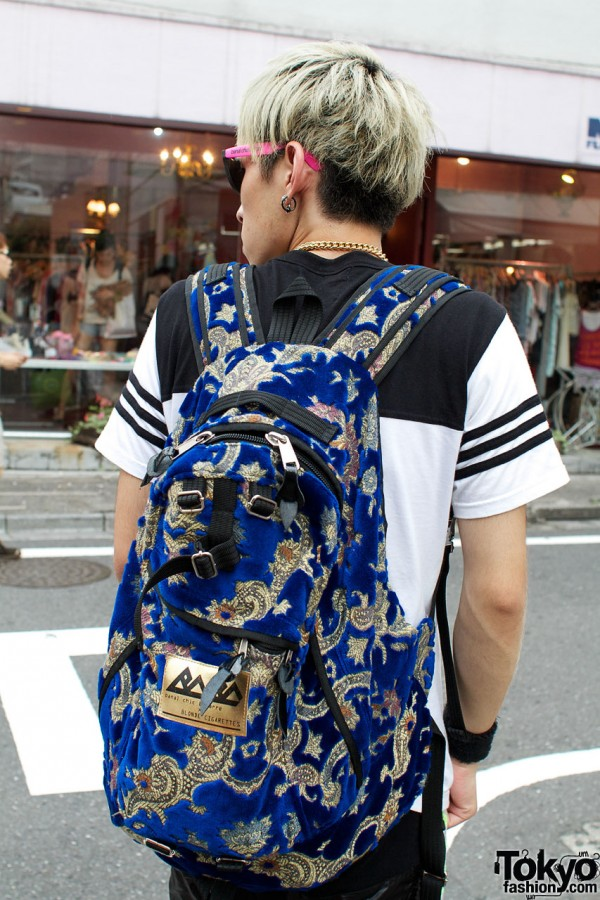 Blue patterned backpack from Banal Chic Bizarre