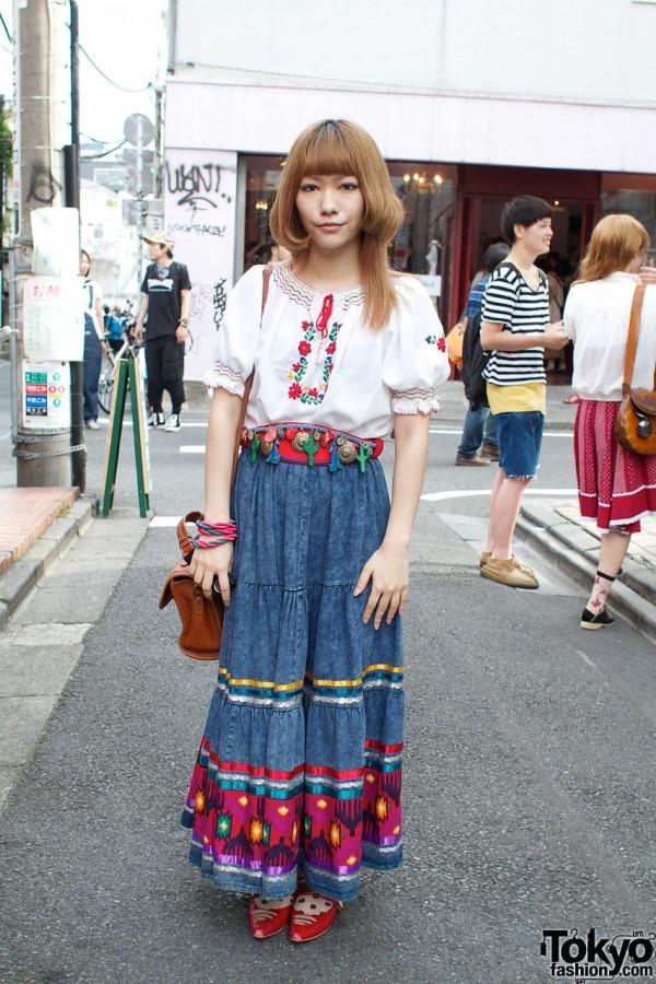 Peasant Blouse & Embellished Denim Skirt