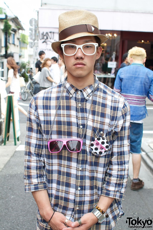 Plaid shirt & resale glasses