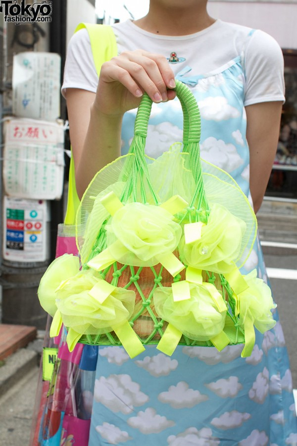 Net bag with yellow chiffon roses