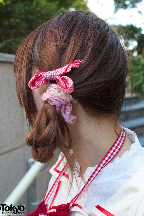 Braid with lace & gingham bow