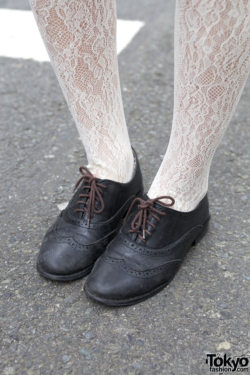 Earth Shoes W White Lace Tights Tokyo Fashion News