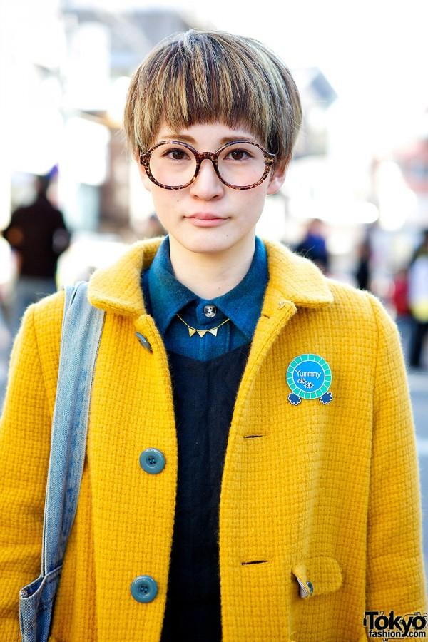 Cute Pixie Cut Round Glasses Amp Didizizi Mustard Coat In