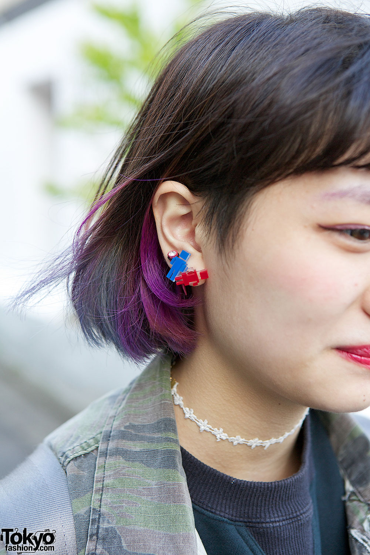 Dip Dye Hair W Tarock Camouflage Kinji Top Amp Mini Skirt