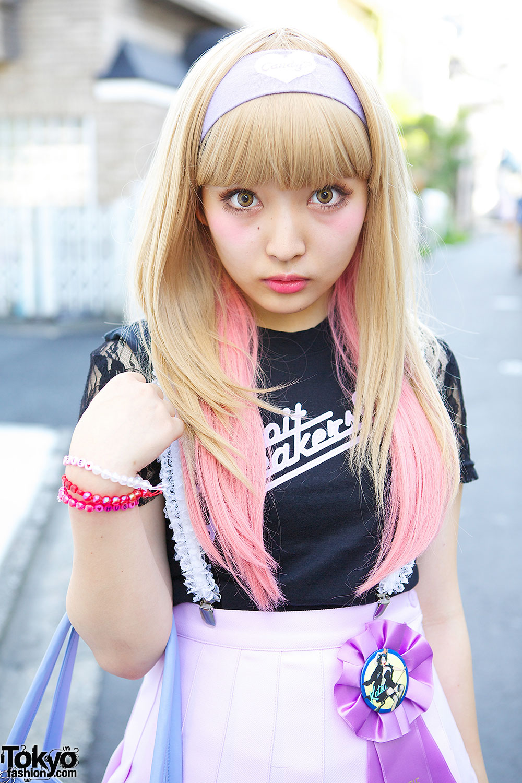 Kawaii Harajuku Style W Pink Hair Pleated Skirt Lace