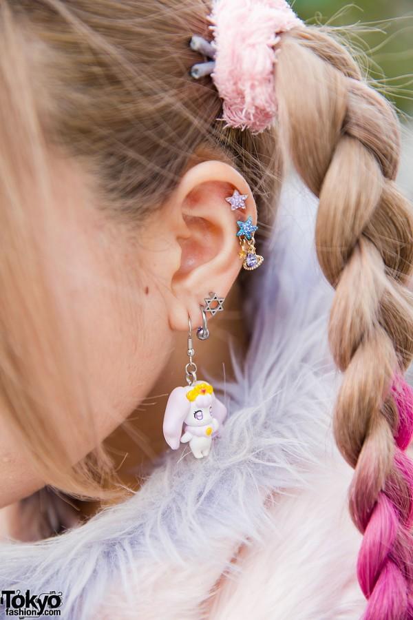 Harajuku Girl W Pink Twin Braids Unicorn Muffler