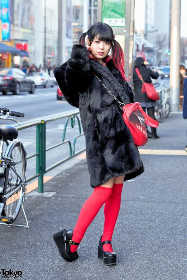 Dip Dye Twintails Candy Stripper Faux Fur Coat